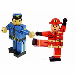 Policeman and Fireman Bending Shaping Rotate Wooden Toy (2 Figures)
